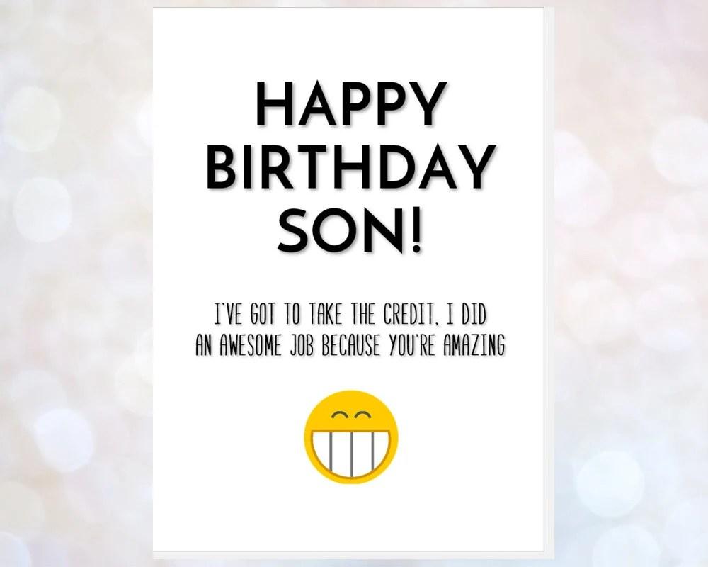 Funny Son Birthday Card Happy Birthday Son Card Card For Son Etsy