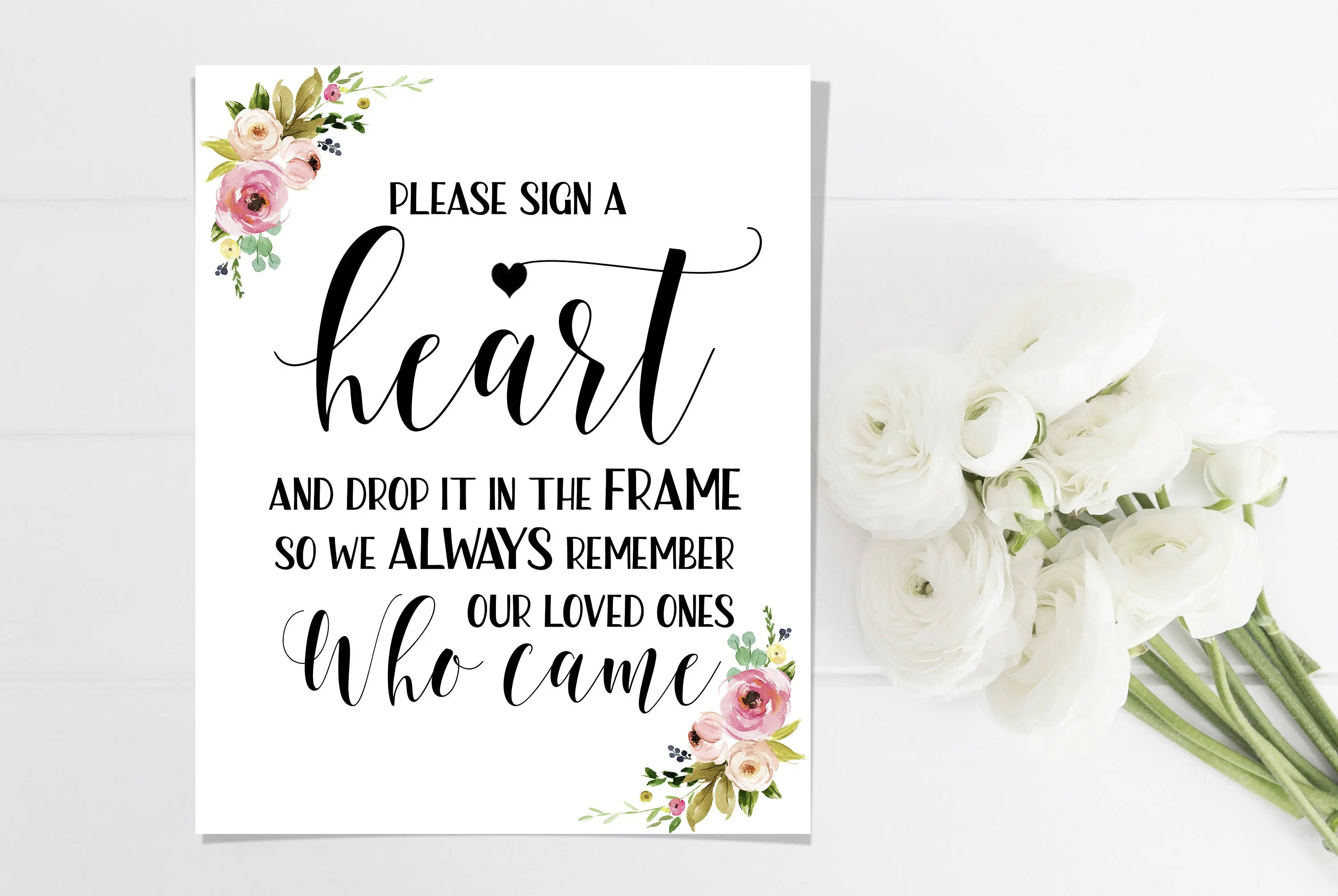 Please Sign A Heart Printable Wedding Guest Book Sign