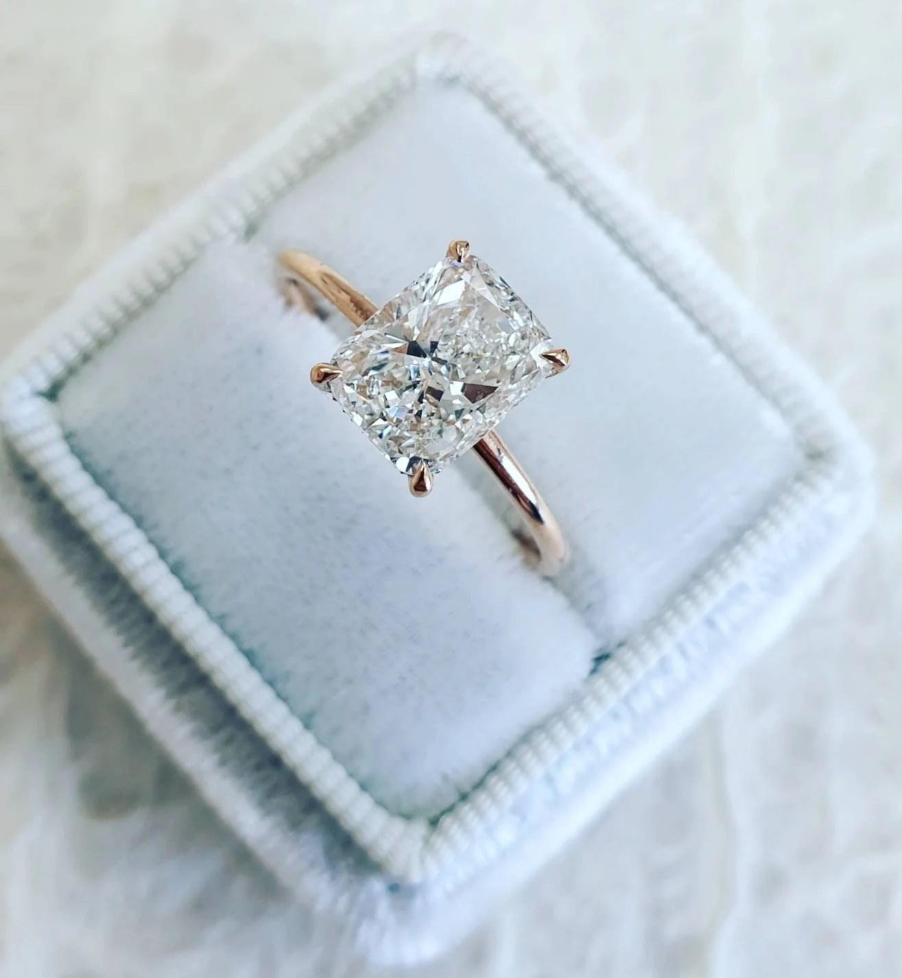 diamond engagement ring 1 70 carat elongated cushion diamond unique diamond ring cushion cut engagement ring diamond ring free shipping