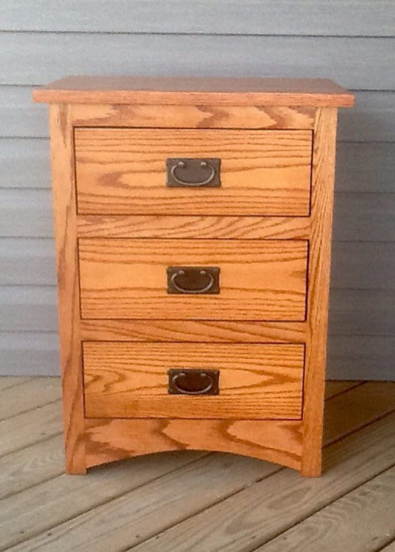 Solid Oak Bedroom Nightstand With Drawers Farmhouse Mission Arts Crafts Custom Handmade