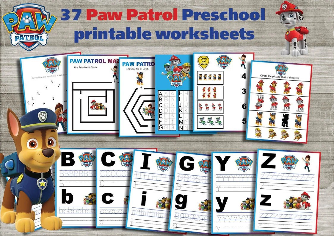 Paw Patrol Preschool Printable Worksheets Package