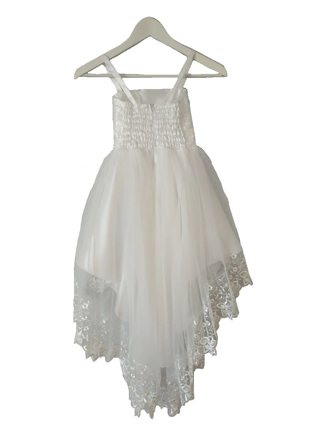 Christening Gown With Asymmetric White Lace And Tulle Skirt