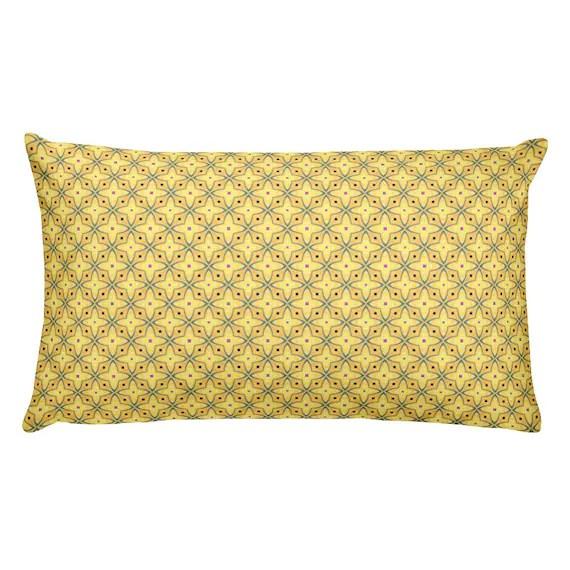 lumbar pillow pale yellow indoor outdoor lumbar pillows blue pink accents star cross design rectangle pillow patio pillows accent pillows
