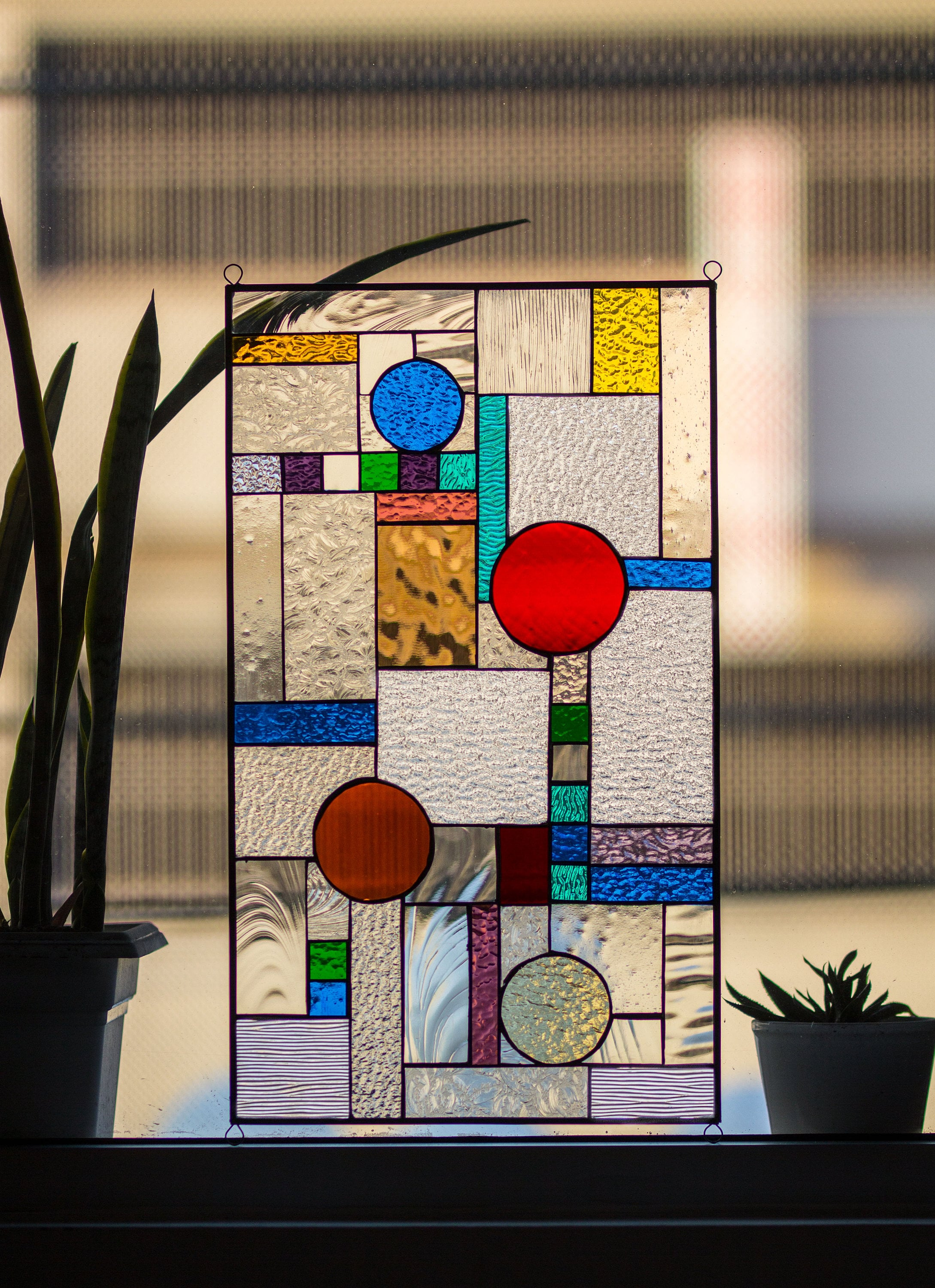 Stained Glass Tiffany Window Frank Lloyd Wright Abstract