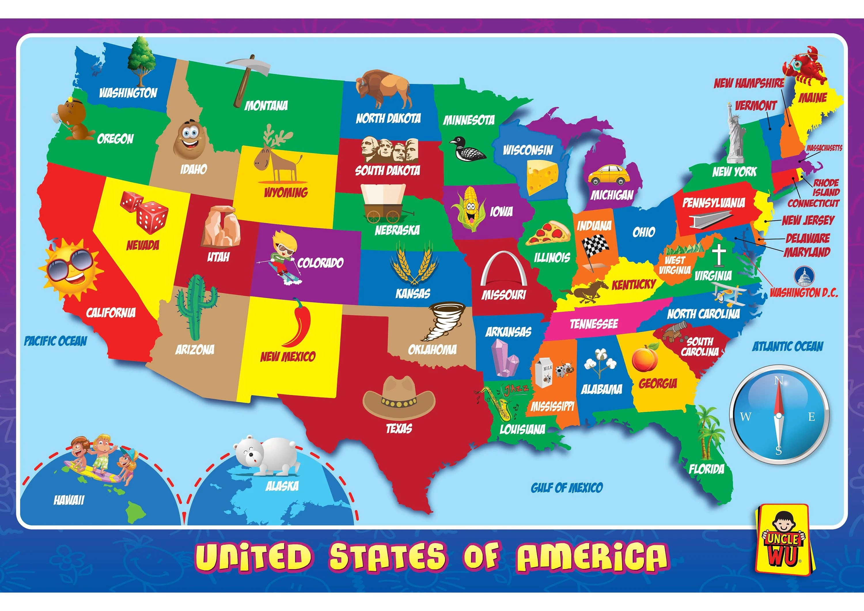 United State Map Kids Education Placemats Wall Map Poster