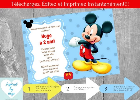 invitation mickey mouse fete d anniversaire garcon maison mickey telechargement instantane invitation en francais editable a personnaliser