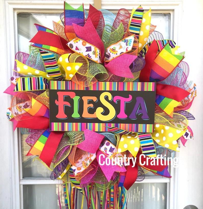 Fiesta Wreath Front Door wreath Colorful Door Wreath San image 0
