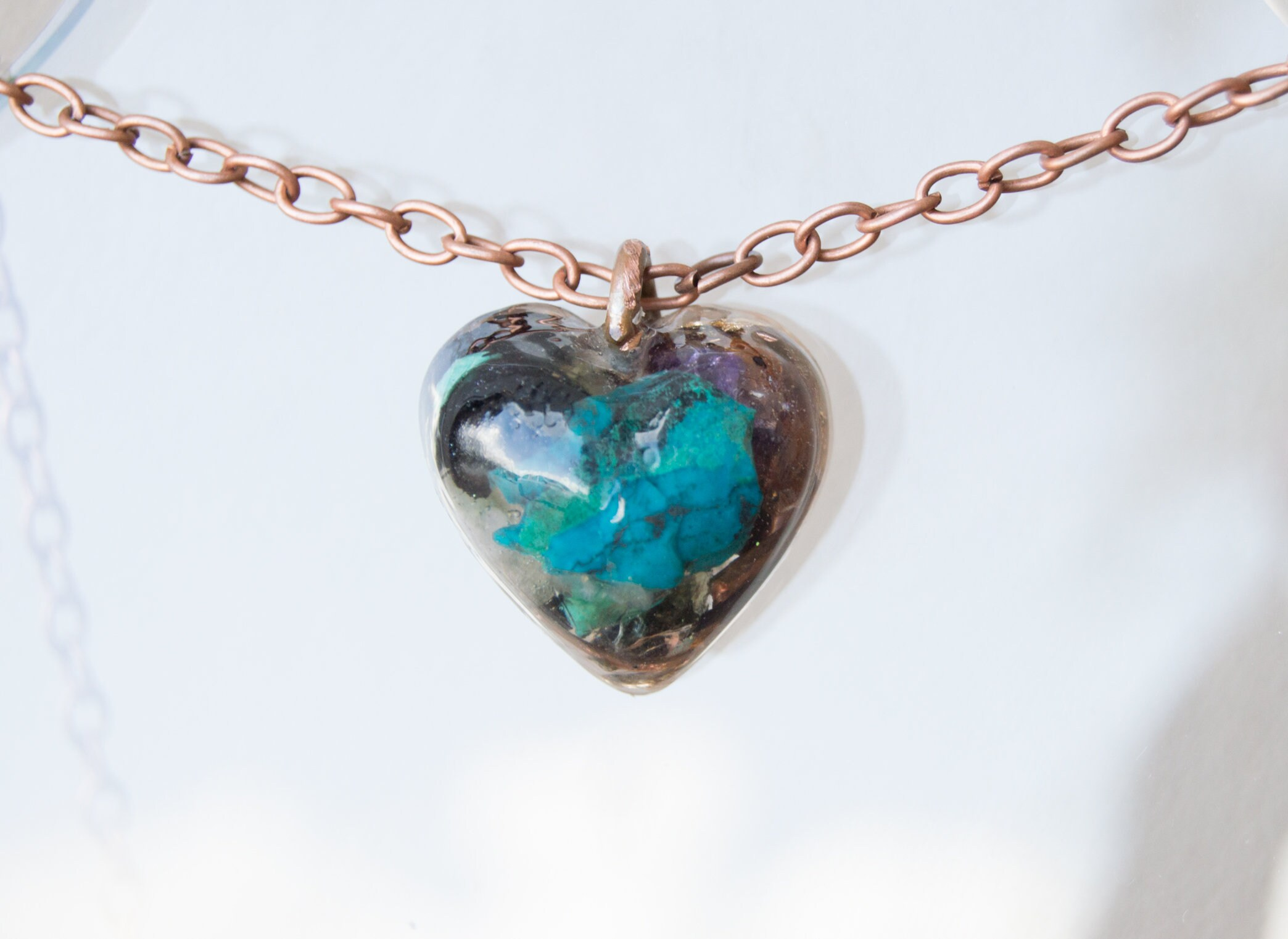 Orgonite 174 Chrysocolla And Amethyst Pendant With Elite