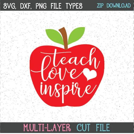 Download Teach Love Inspire SVG Apple SVG Teacher SVG Teach   Etsy