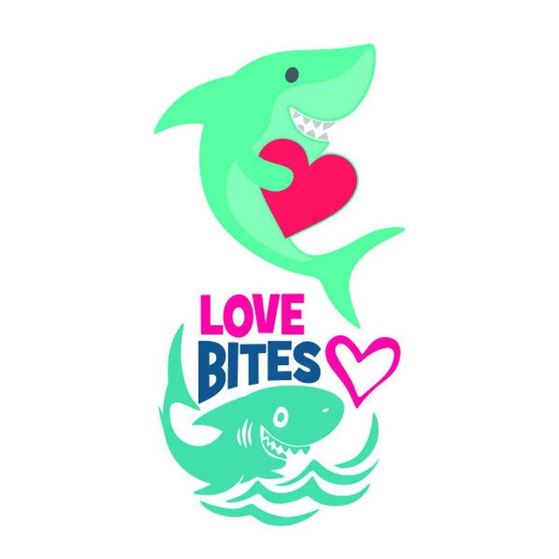 Download Love Bites Shark fish Valentines Day Cuttable Design SVG ...