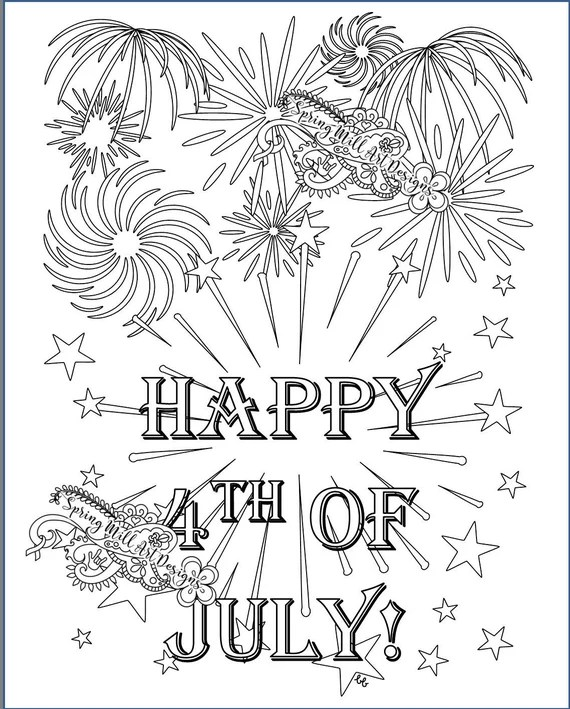 Let S Celebrate Happy 4th Of July Fireworks Coloring Page Etsy