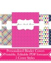 Personalized Printable Binder Covers Happy Bright Colors Etsy