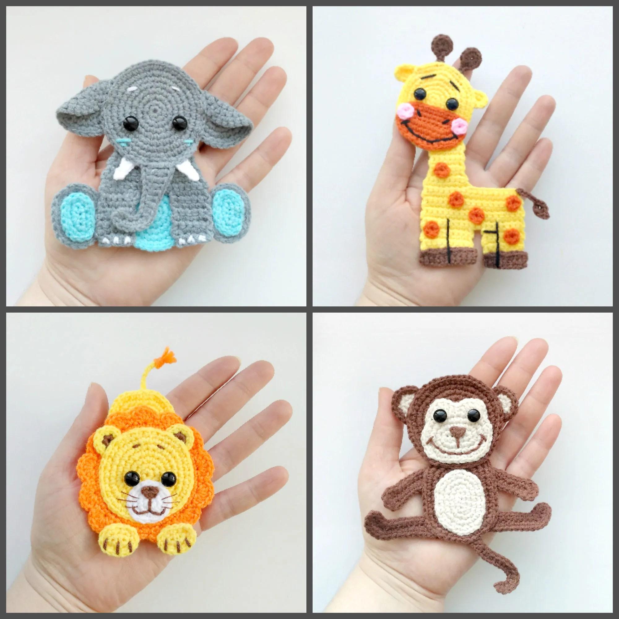 Pattern Jungle Animal Applique Crochet Patterns