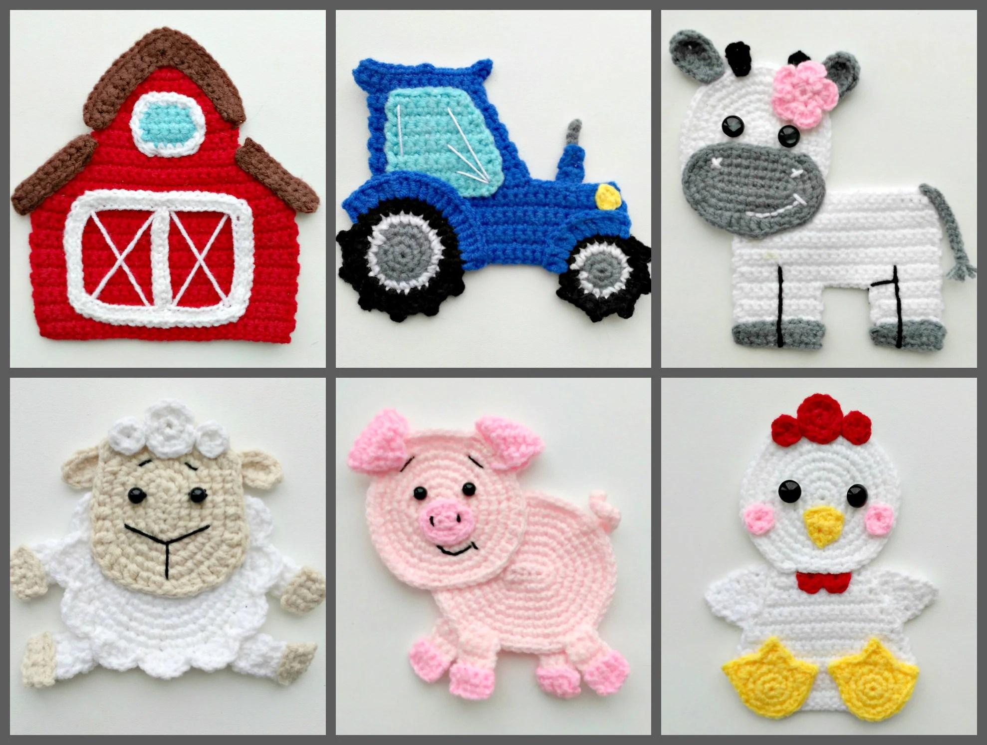 Pattern Farm Animal Applique Crochet Patterns Barn