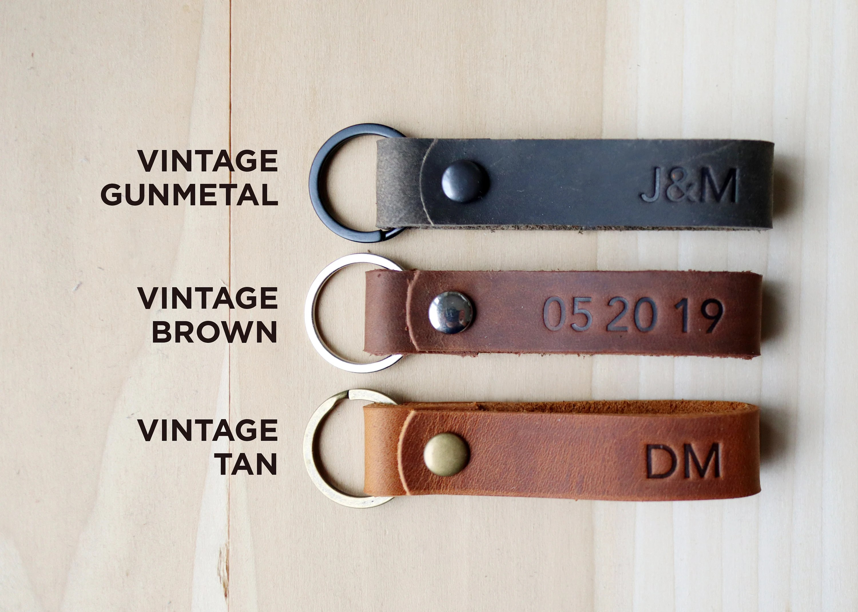 Personalized Leather Keychain Fob Gift Anniversary image 1