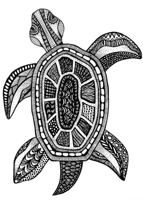 turtle tortue print zentangle dessin estampes tirages noir et blanc art mural tortue a l encre de l art gravures art mural noir et blanc