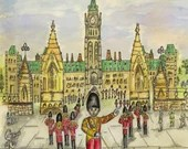 Ottawa Changing of the Guards. Patriotic Art. Parliament Building. Capturing a colourful Performance.
