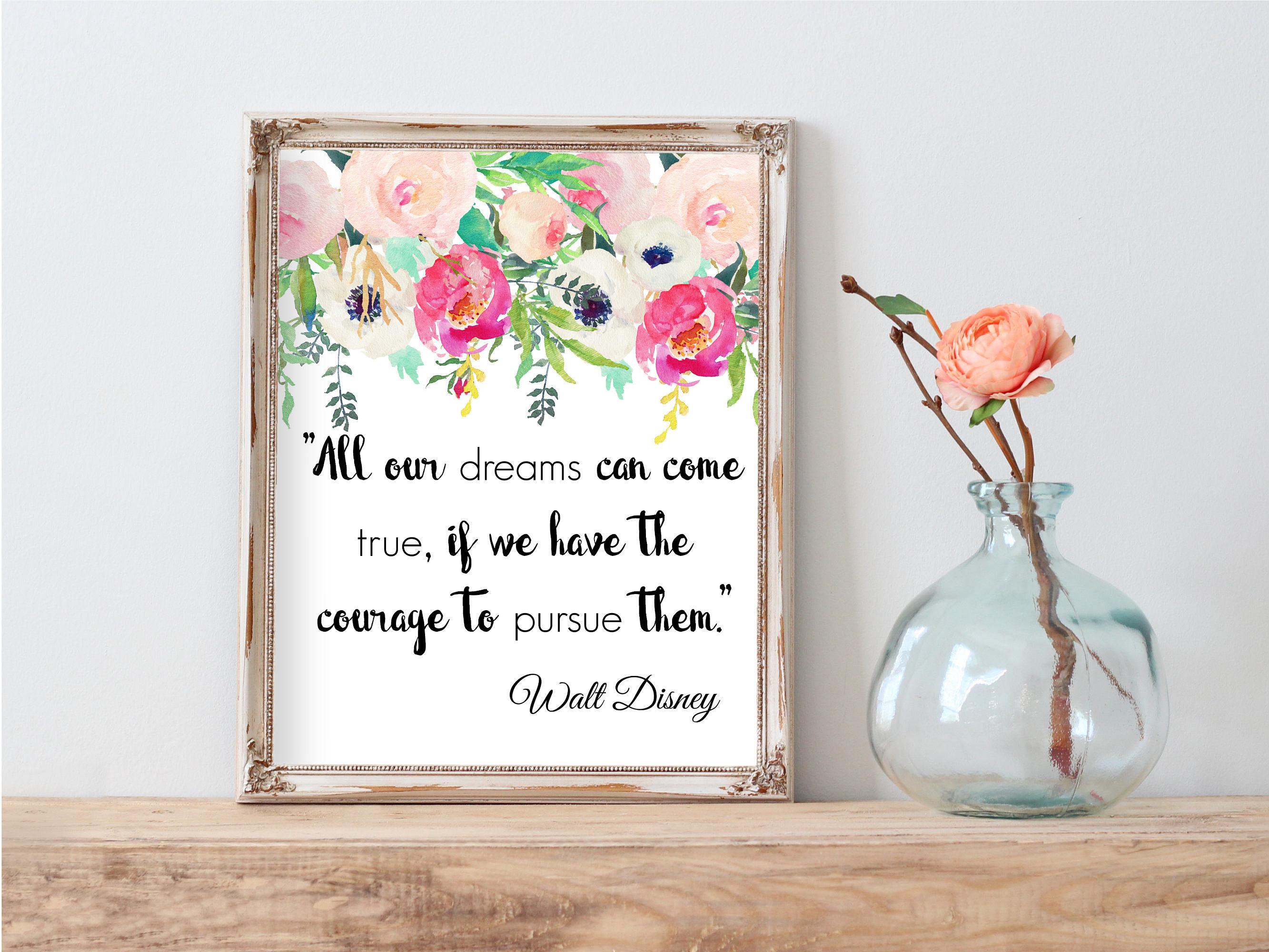 Walt Disney Printable Quote Girl Nursery Decor Wall Art