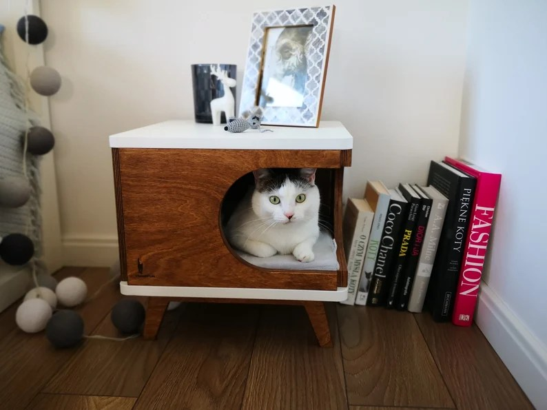 Cat house cat bed gift for catlover cat cabinet modern cat image 1