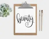 Hand Lettered Word of the Year by Shawna Clingerman - Beauty - INSTANT DOWNLOAD