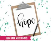 Hand Lettered Word of the Year - Hope - INSTANT DOWNLOAD