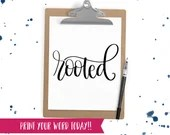 Hand Lettered Word of the Year - Rooted - INSTANT DOWNLOAD