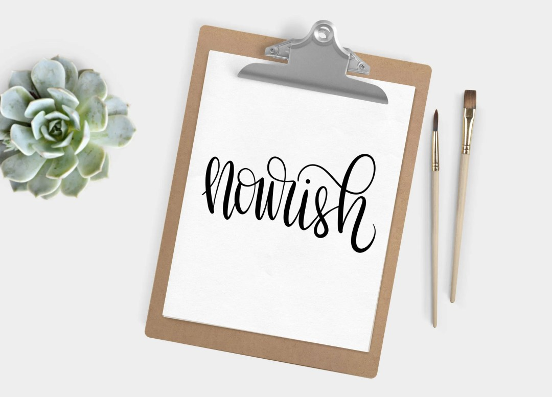 Hand Lettered Word of the Year - Nourish - INSTANT DOWNLOAD