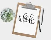 Hand Lettered Word of the Year - Whole - INSTANT DOWNLOAD