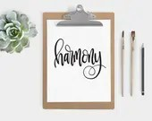 Hand Lettered Word of the Year - Harmony - INSTANT DOWNLOAD
