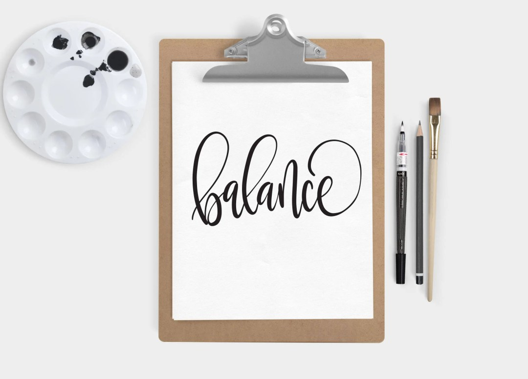 Hand Lettered Word of the Year - Balance - INSTANT DOWNLOAD