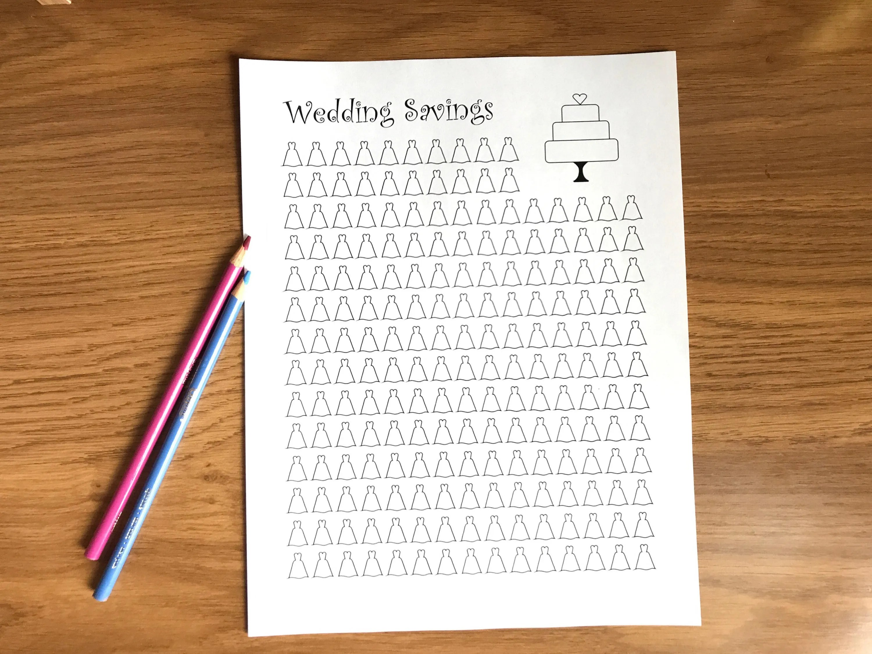 Wedding Savings Tracker Printable Coloring Sheet