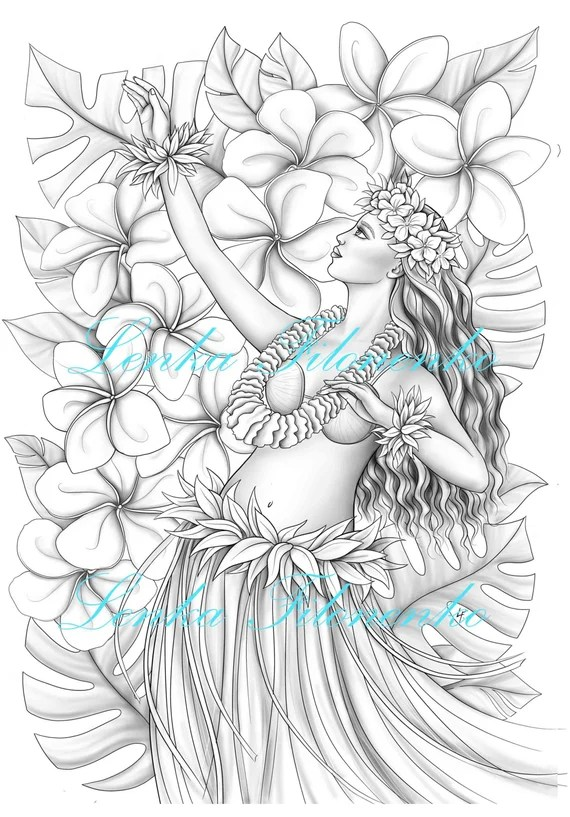 Coloring Page For Adults Hawaii Hula Dancer Greyscale Etsy