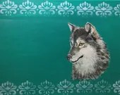 Original hand painted Grey Wolf in Acrylic