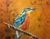 Kingfisher Gold Damask Acrylic Painting