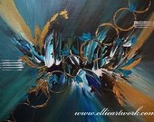 Abstract art painting original teal and gold