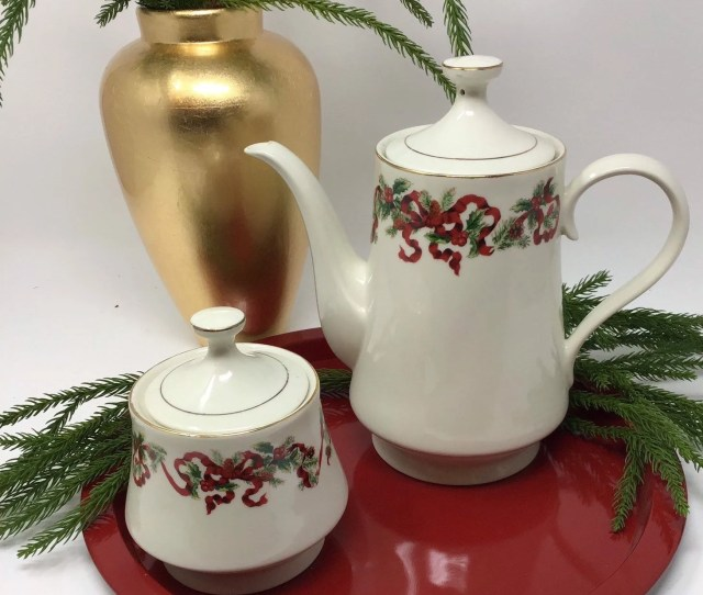 Christmas Ribbon Coffee Pot Teapot And Sugar Bowl Or Tea Bag Holder Pattern Name Is Christmas Ribbon By World Bazaar