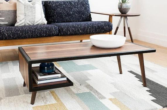 wood steel coffee table metal frame mid century modern industrial furniture living room small walnut white oak wooden handmade handcrafted