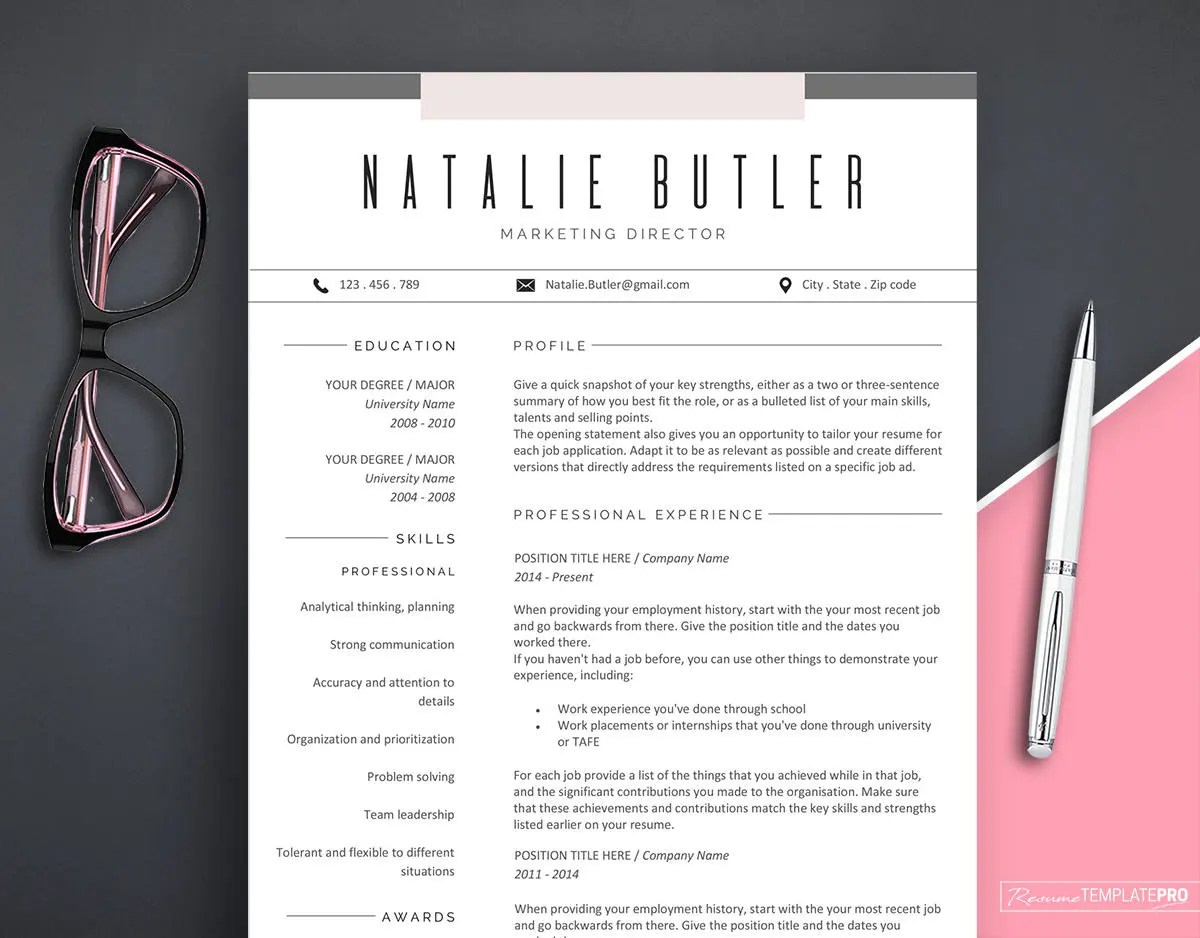 Resume template   Etsy Popular items for resume template