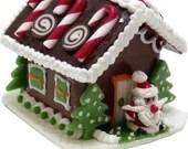 Dollhouse Miniature Gingerbread House Candy Cane Dream - 1:12 Scale Miniture Christmas Holiday Accessory Santa