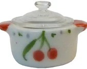 Dollhouse Miniature Ceramic Pot with Glass Lid, Multiple Colors - 1:12 Scale Mini Kitchen Crockpot Cooking Accessories