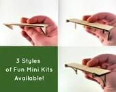 Mini Dollhouse Shelf Kit - Large Unfinished Lasercut Shelf with 3 different Bracket Options - 1:12 Scale Mini Home Decor Baltic Birch