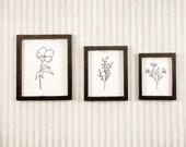 Mini Dollhouse Floral Printables - 1:12 Scale Art - Miniature Botanical Line Art Prints