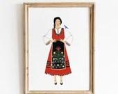 Folk Girl Print Art - Balkan Costume Folk Art - Wall Art / Decor / Illustration - A4 / A5 Giclee Print