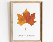 Maple Leaf Giclee Print, Red/Brown Watercolor Leaf, Fall Foliage, Home Decor, Nature Gift