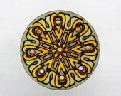 Wooden Brooch with Glass Crystals. Handpainted finery. Gift for Her. Romantic Unique Design. Estonian Jewelry. Mandala Pattern.