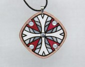 Pendant Necklace with Glass Crystals. Gift for Her. Romantic Unique Design. Estonian Jewelry. Mandala pattern. Handpainted Plywood.