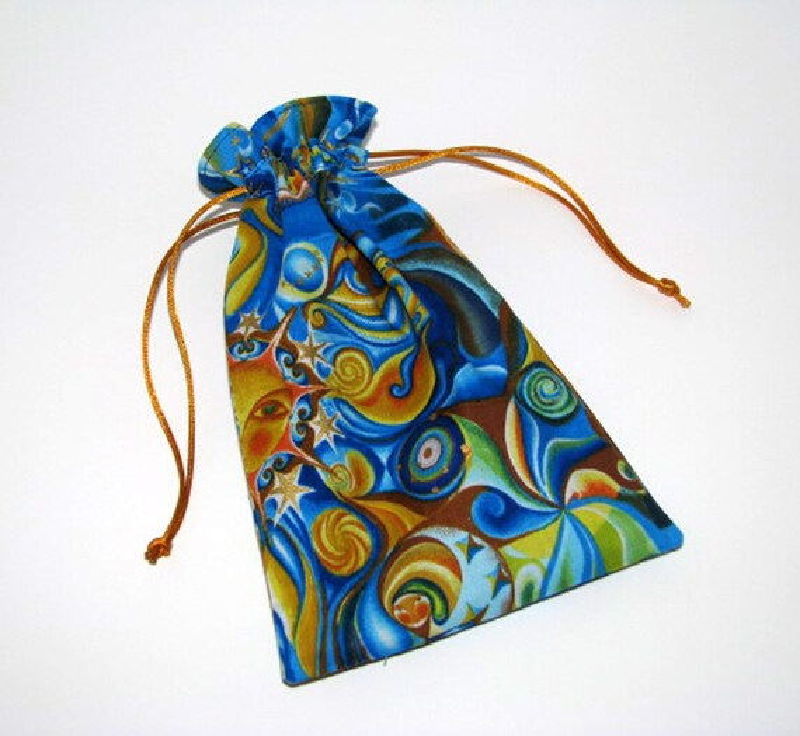 40% OFF - Tarot card pouch, draw string pouch, tarot cards, runes, pouch, cotton, celestial, astrology, Tarot cards