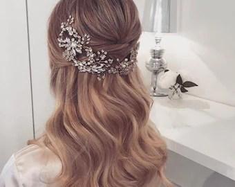 hair vine wedding hair vine headpiece crystal hair vine statement headpiece tiara headband bridal hair vine