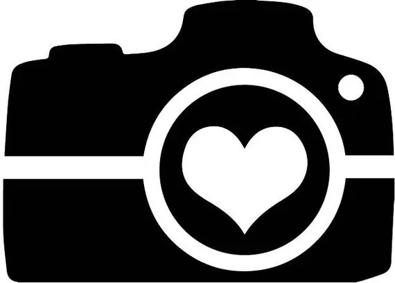 Download Camera with a heart in the lens svg cut file | Etsy