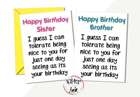 Funny Brother Sister Happy Birthday Card I Ll Etsy